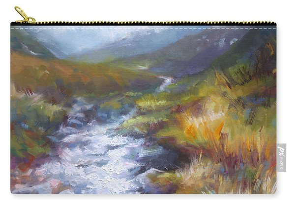 Carry-all Pouch featuring the painting Running Down - Landscape View From Hatcher Pass by Talya Johnson