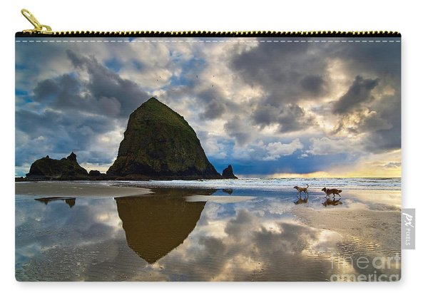 Running Free - Dogs Running In Beautiful Cannon Beach. Carry-all Pouch