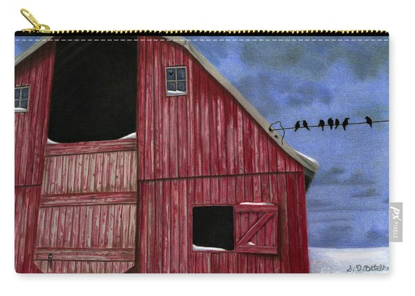 Rustic Red Barn In Winter Carry-all Pouch