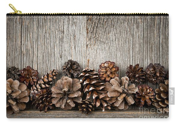 Rustic Wood With Pine Cones Carry-all Pouch