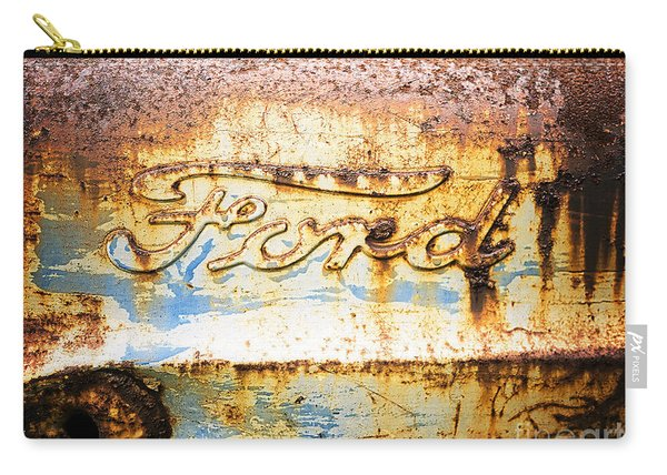 Carry-all Pouch featuring the photograph Rusty Old Ford Closeup by Edward Fielding