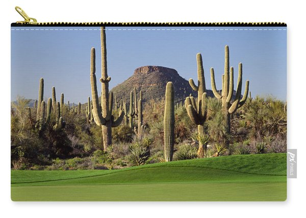 Saguaro Cacti In A Golf Course, Troon Carry-all Pouch
