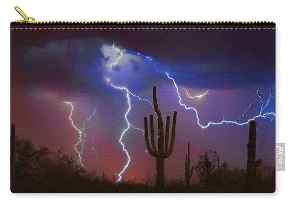 Saguaro Lightning Nature Fine Art Photograph Carry-all Pouch
