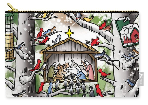 Carry-all Pouch featuring the digital art St. Francis And The Birds by Mark Armstrong
