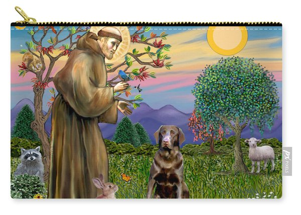 Saint Francis Blesses A Chocolate Labrador Retriever Carry-all Pouch