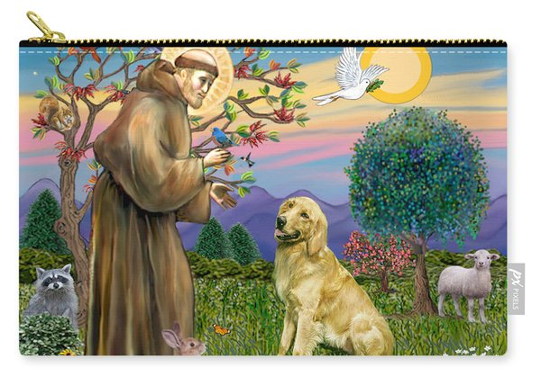 Saint Francis Blesses A Golden Retriever Carry-all Pouch