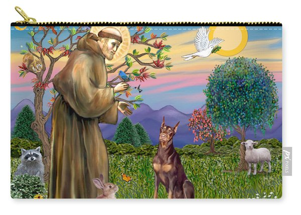 Saint Francis Blesses A Red Doberman Carry-all Pouch