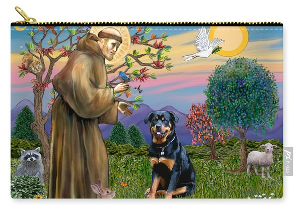 Saint Francis Blesses A Rottweiler Carry-all Pouch