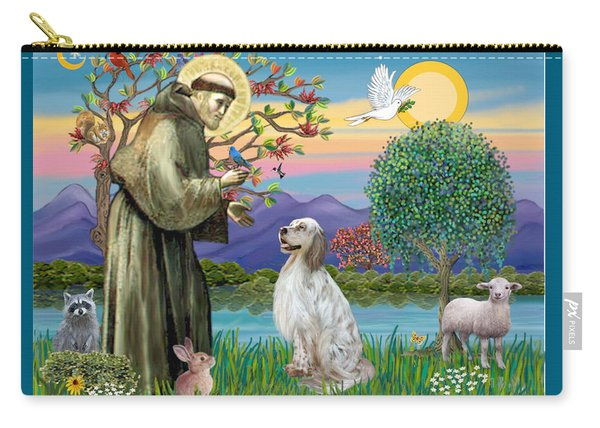 Saint Francis Blesses An English Setter Carry-all Pouch