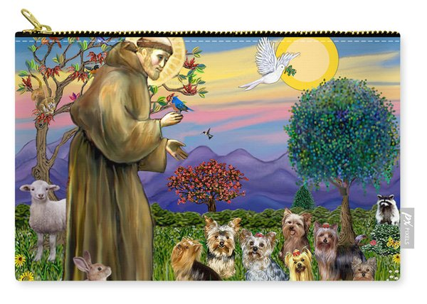 Saint Francis Blesses Seven Yorkies Carry-all Pouch