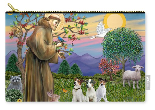 Saint Francis Blesses Three Jack Russell Terriers Carry-all Pouch