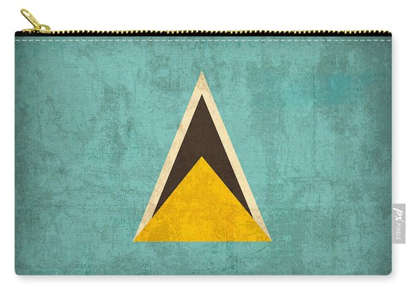 Saint Lucia Flag Vintage Distressed Finish Carry-all Pouch