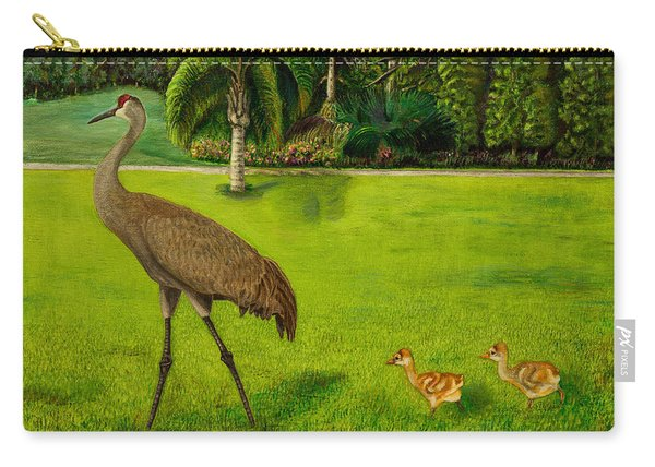 Painted Sandhill Crane With Chicks  Carry-all Pouch