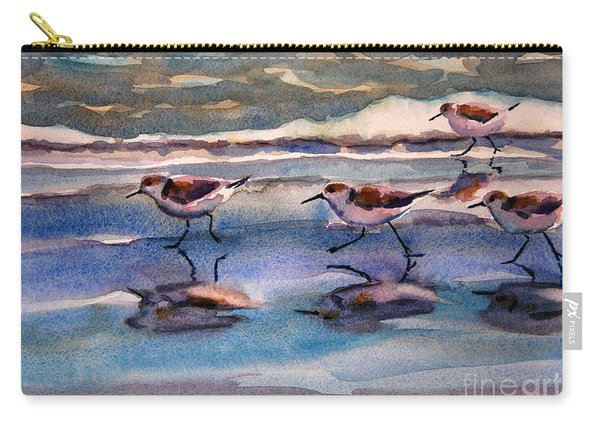 Sandpipers Running In Beach Shade 3-10-15 Carry-all Pouch