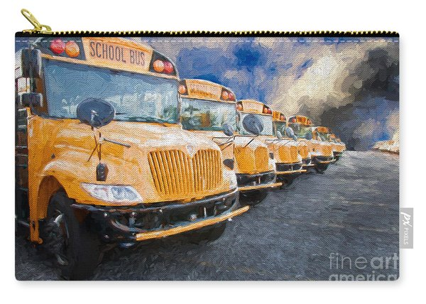 School Bus Lot Painterly Carry-all Pouch
