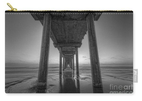 Scripps Pier Sunset Bw Carry-all Pouch