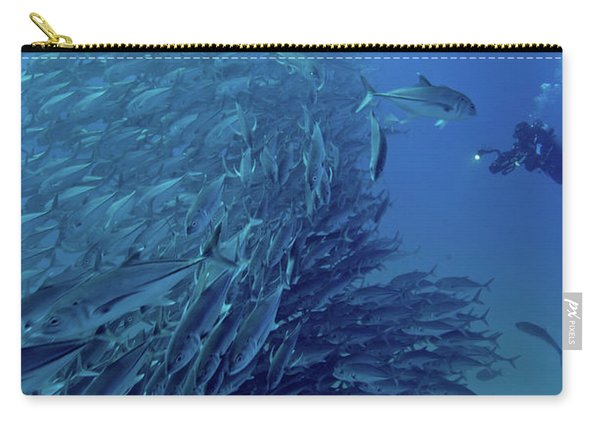 Scuba Divers With A Massive School Carry-all Pouch