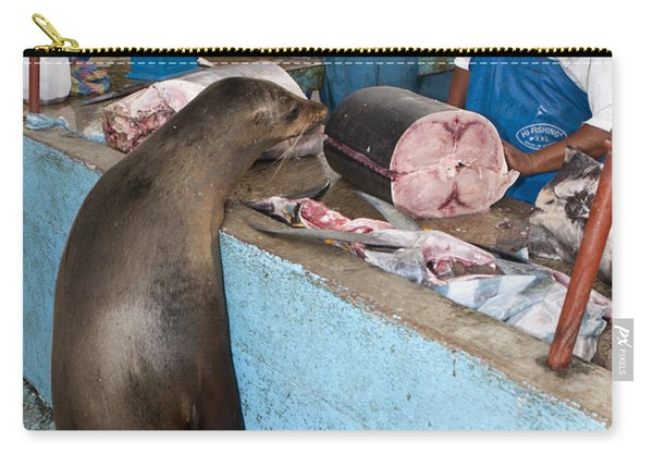 Sea Lion At The Fish Market Galapagos Carry-all Pouch