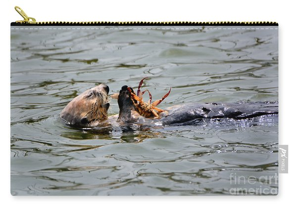 Sea Otter Munching On Crab Leg Carry-all Pouch