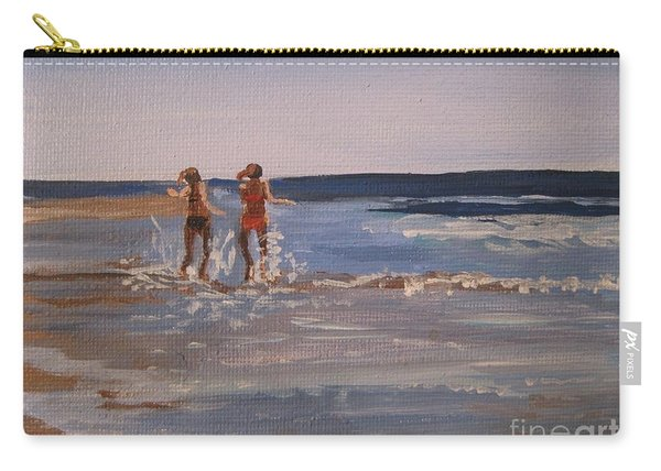Sea Splashing On The Beach Carry-all Pouch
