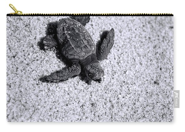 Sea Turtle In Black And White Carry-all Pouch