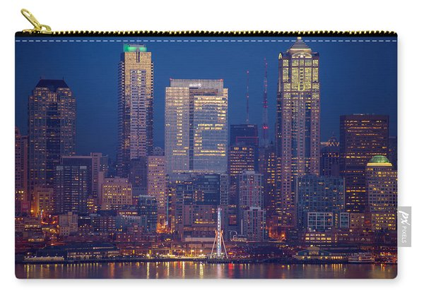 Seahawks 12th Man Seattle Skyline At Dusk Carry-all Pouch