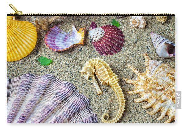 Seahorse With Many Sea Shells Carry-all Pouch