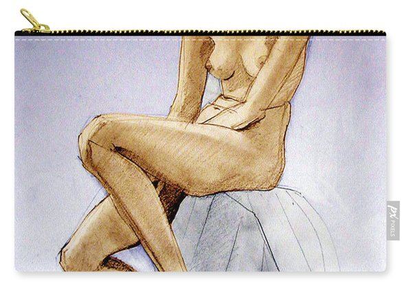 Tinted Figure Drawing Of A Seated Female Nude Dreaming Carry-all Pouch