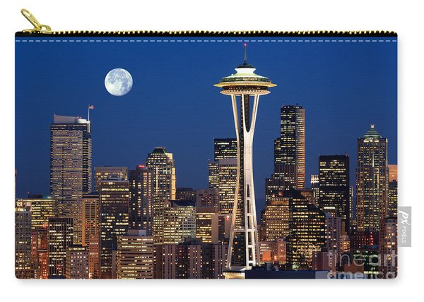 Seattle At Full Moon Carry-all Pouch