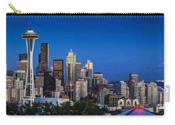 Carry-all Pouch featuring the photograph Seattle Skyline Panoramic by Brian Jannsen
