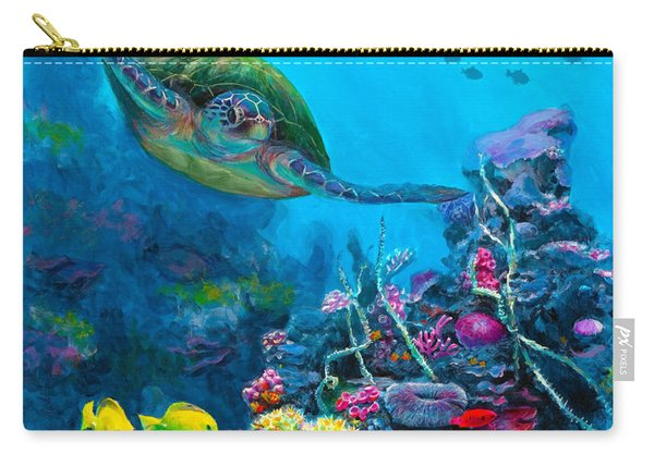 Secret Sanctuary - Hawaiian Green Sea Turtle And Reef Carry-all Pouch