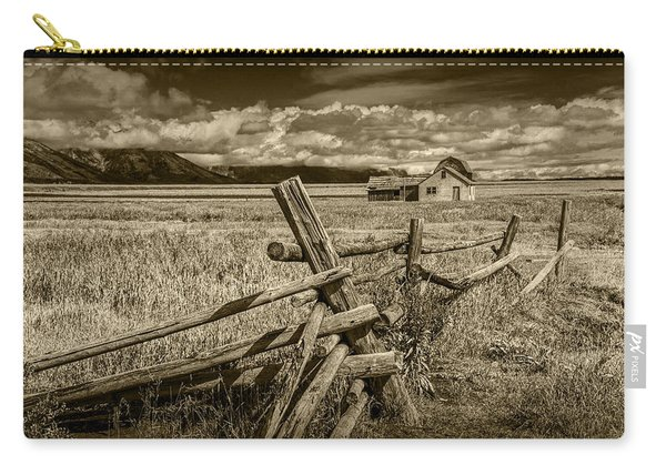 Sepia Colored Photo Of A Wood Fence By The John Moulton Farm Carry-all Pouch
