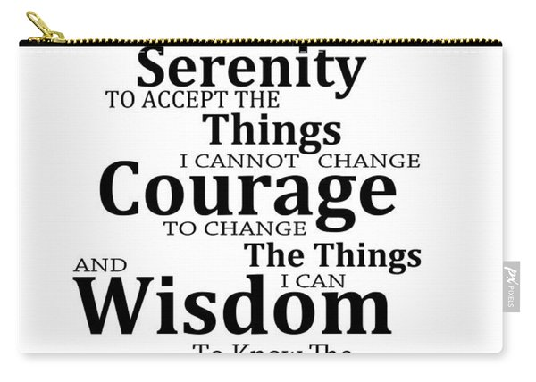 Serenity Prayer 6 - Simple Black And White Carry-all Pouch