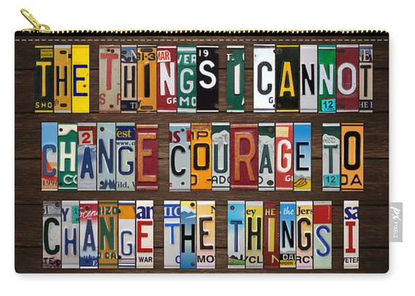Serenity Prayer Reinhold Niebuhr Recycled Vintage American License Plate Letter Art Carry-all Pouch