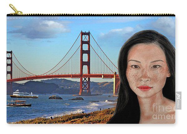 Sexy Freckle Faced Beauty Lucy Liu Altered Version Carry-all Pouch