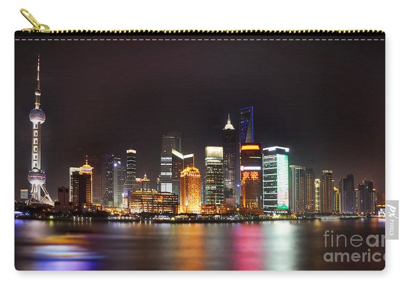 Shanghai Skyline At Night Carry-all Pouch