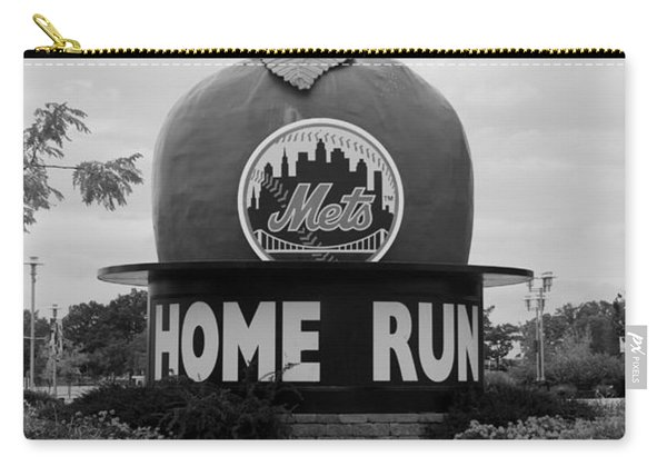 Shea Stadium Home Run Apple In Black And White Carry-all Pouch