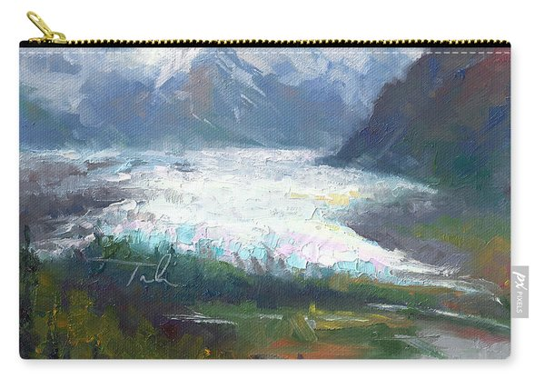 Carry-all Pouch featuring the painting Shifting Light - Matanuska Glacier by Talya Johnson