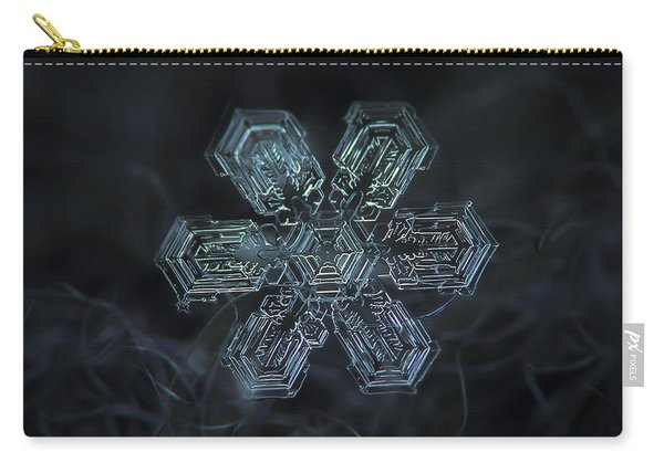 Carry-all Pouch featuring the photograph Snowflake Photo - Shine by Alexey Kljatov