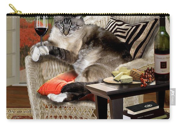 Funny Wine Bibbing Cat Carry-all Pouch