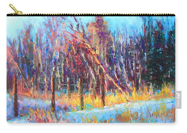 Carry-all Pouch featuring the painting Signs Of Spring - Trees And Snow Kissed By Spring Light by Talya Johnson