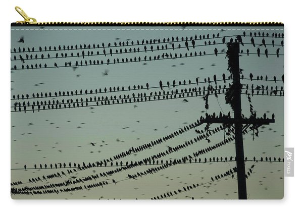 Silhouette Of Birds Gathering On Wires Carry-all Pouch