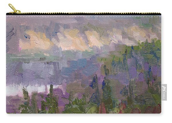 Carry-all Pouch featuring the painting Silver And Gold - Matanuska Canyon Cliffs River Fireweed by Talya Johnson