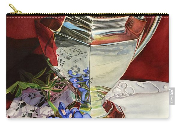 Silver Pitcher And Bluebonnet Carry-all Pouch