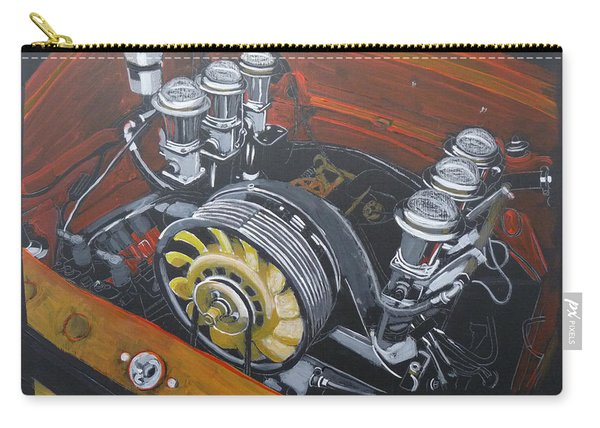 Carry-all Pouch featuring the painting Singer Porsche Engine by Richard Le Page