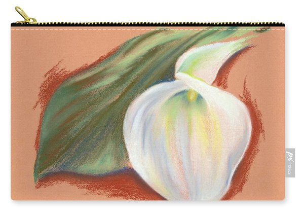 Single Calla Lily And Leaf Carry-all Pouch