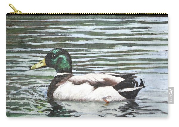 Carry-all Pouch featuring the painting Single Mallard Duck In Water by Martin Davey