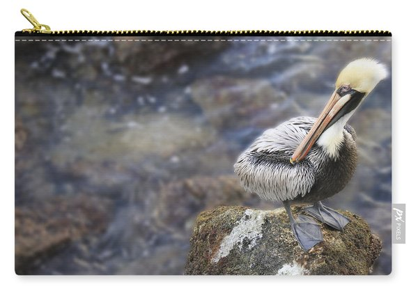 Sitting On A Rock In The Bay Carry-all Pouch