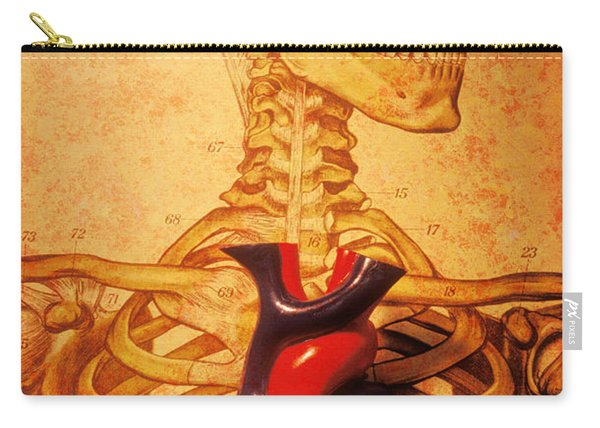 Skeleton And Heart Model Carry-all Pouch