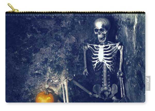 Skeleton With Jack O Lantern Carry-all Pouch